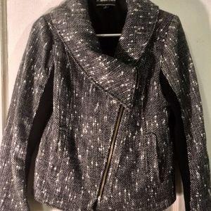 Asymmetrical Black Heathered Jacket